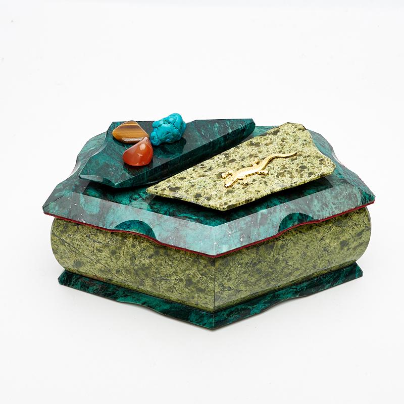 Шкатулка змеевик  19х10,5х9 см