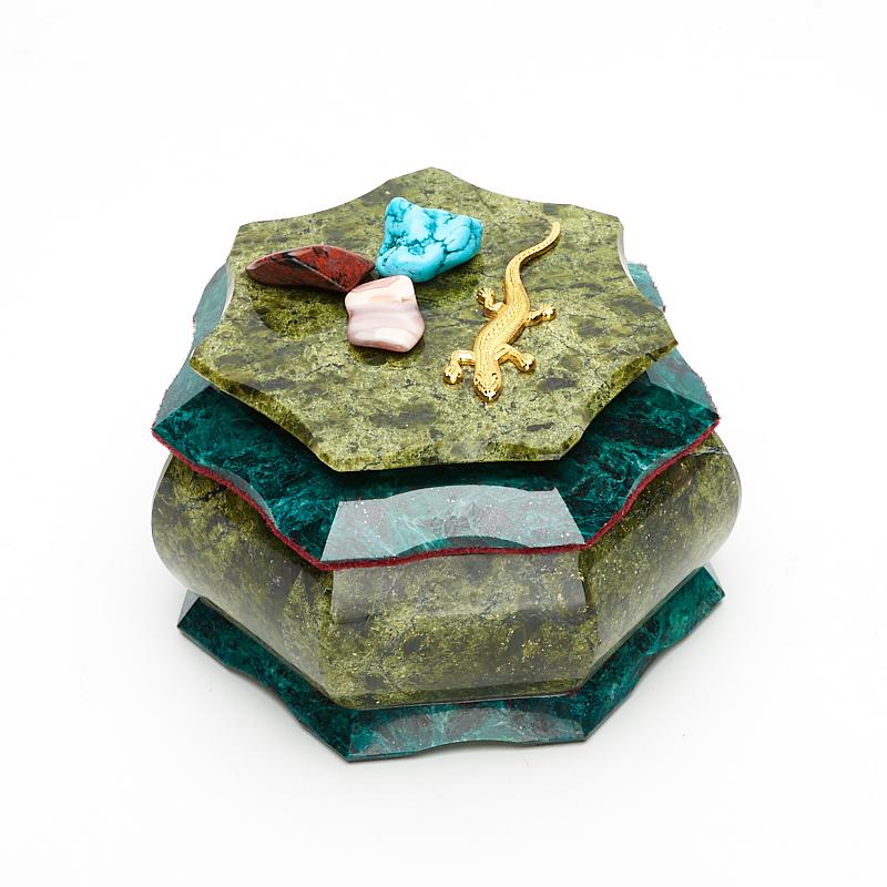 Шкатулка змеевик  10,5х10,5х7,5 см неактивный шкатулка сувенир летний сад 10 5 5 8 см