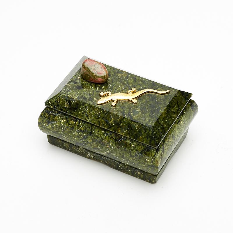 Шкатулка змеевик  9х6х6 см