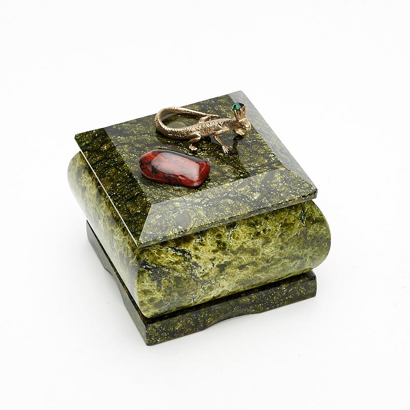 Шкатулка змеевик  7,5х7х7 см