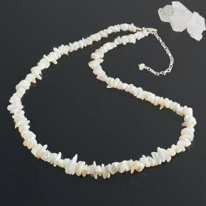 Бусы перламутр белый Индонезия длинные 42-50 см