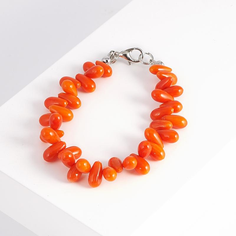 Браслет коралл оранжевый 15 см