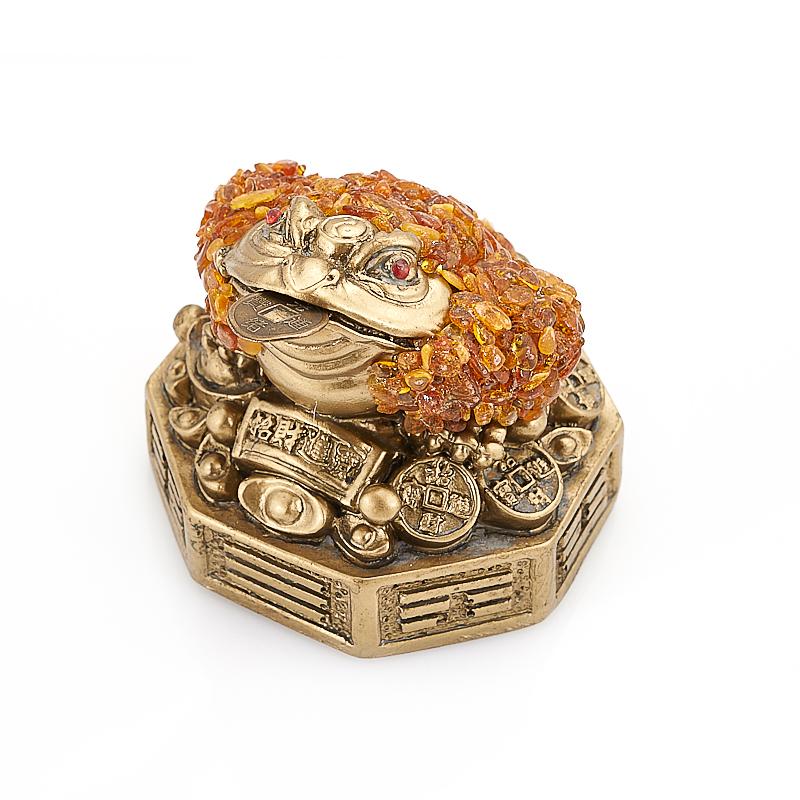 Денежная жаба янтарь 7,5 см копилка premium gips денежная жаба 34 х 23 х 25 см
