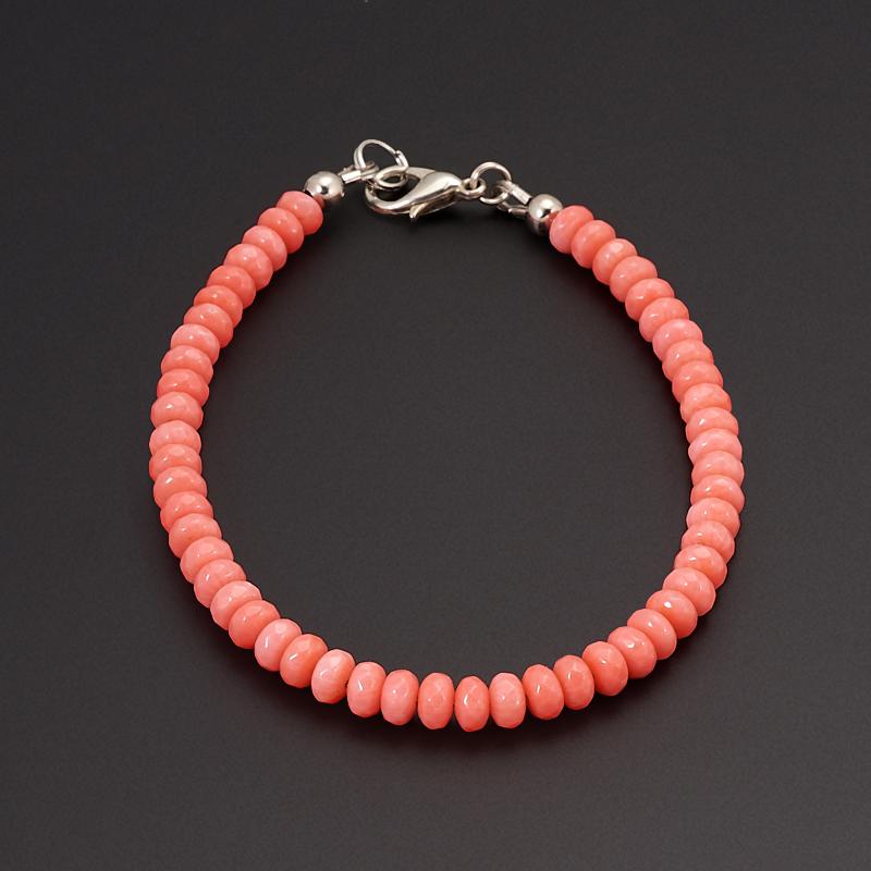 Браслет коралл розовый  огранка 17 см