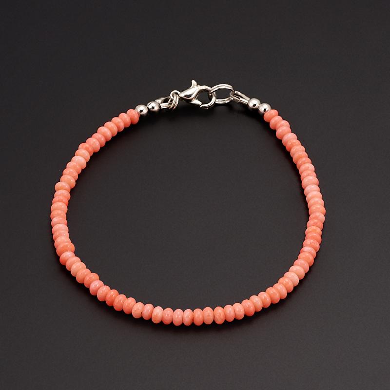 Браслет коралл розовый  18 см (биж. сплав)