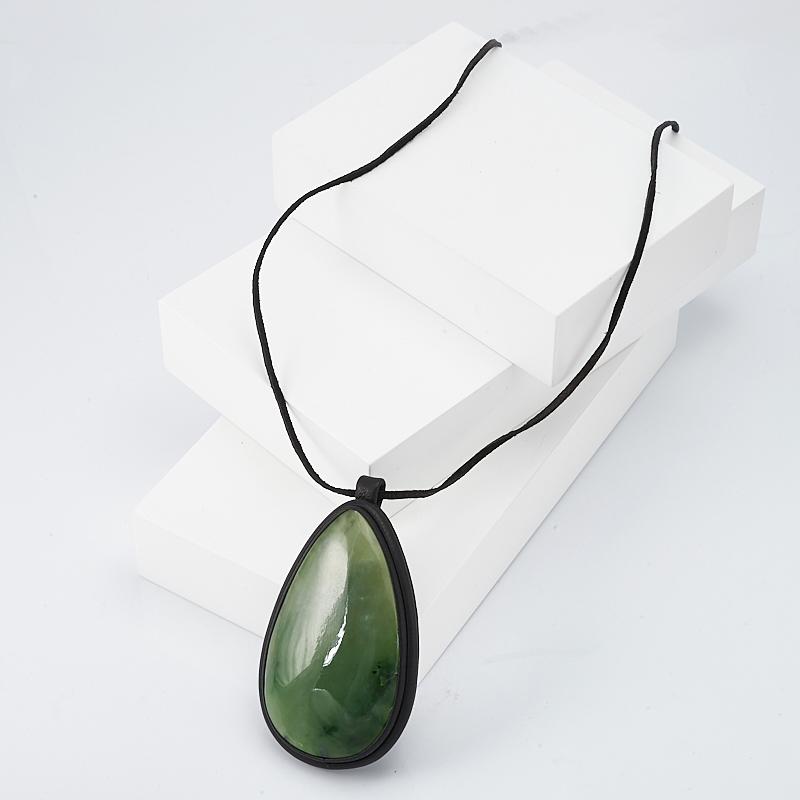 Подвеска нефрит зеленый капля (натуральная кожа)