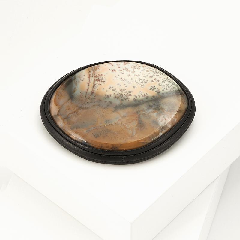 Брошь агат пейзажный  (натуральная кожа) кабошон агат пейзажный 30 50 мм