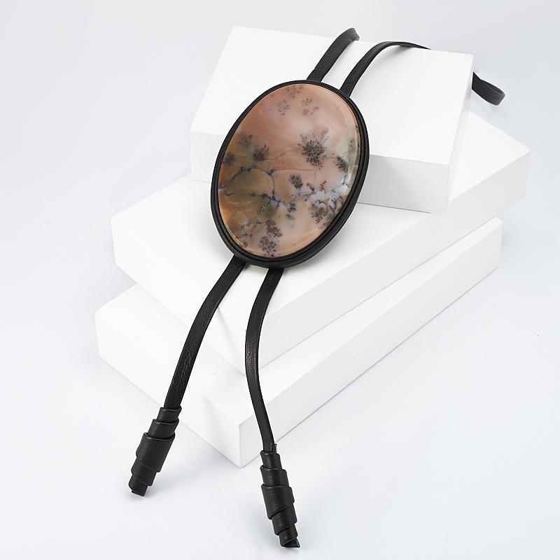 Подвеска агат пейзажный  овал (натуральная кожа) кабошон агат пейзажный 30 50 мм