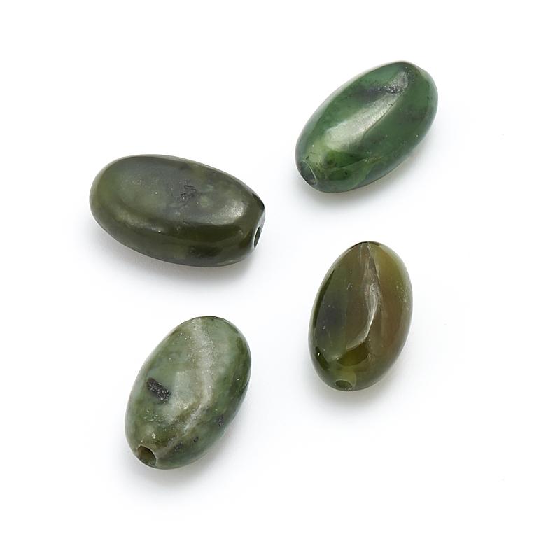 Бусина нефрит зеленый  овал 14*8 мм (1 шт) бусина авантюрин зеленый 10 20 мм огранка 1 шт