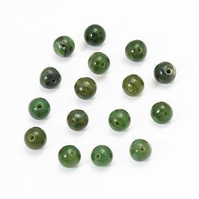 Бусина нефрит зеленый Россия шарик 6 мм (1 шт)