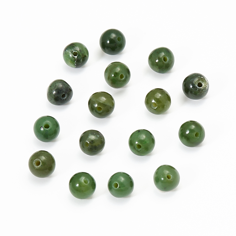 Бусина нефрит зеленый шарик 5,5-6 мм (1 шт)