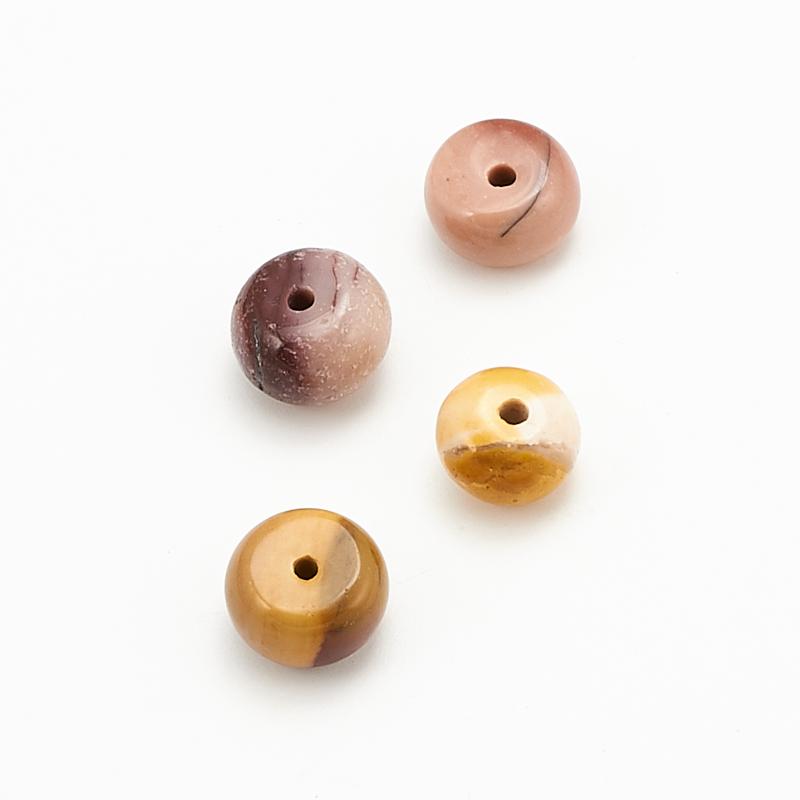 Бусина яшма мукаит  сплюснутый шар 7,5-8 мм (1 шт) бусина коралл оранжевый сплюснутый шар 6 мм 1 шт