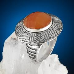 Кольцо сердолик Ботсвана огранка (серебро 925 пр.) размер 17,5