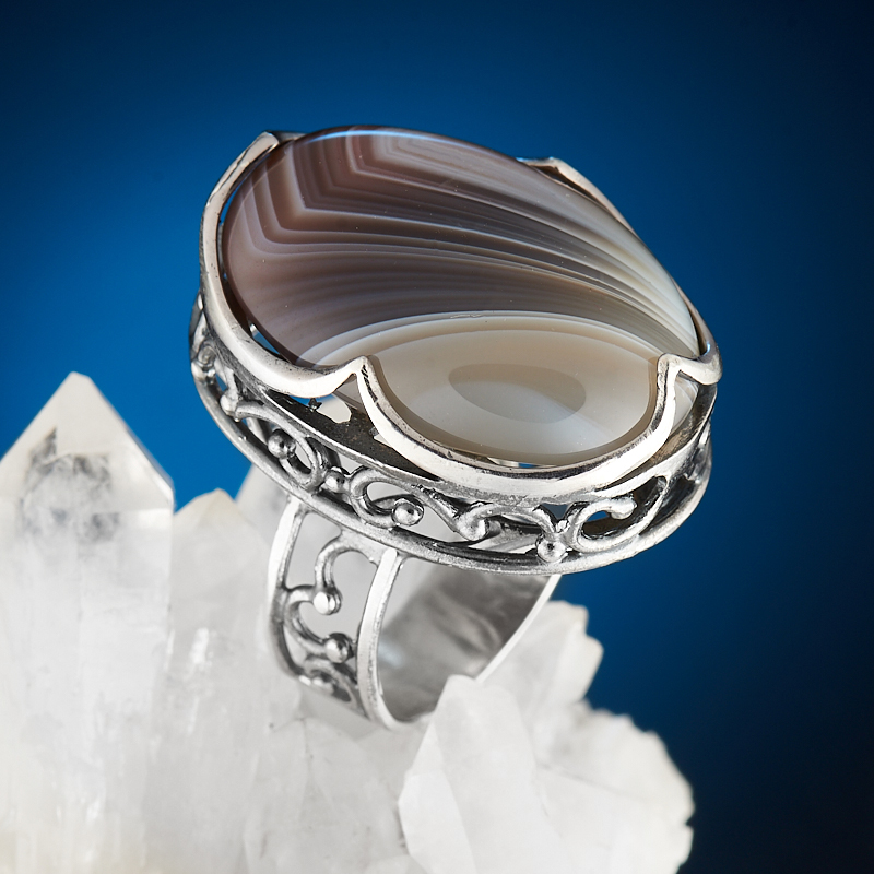Кольцо агат серый (серебро 925 пр.) размер 17,5 серьги агат серый серебро 925 пр