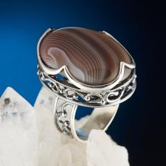Кольцо агат серый Ботсвана (серебро 925 пр.) размер 18