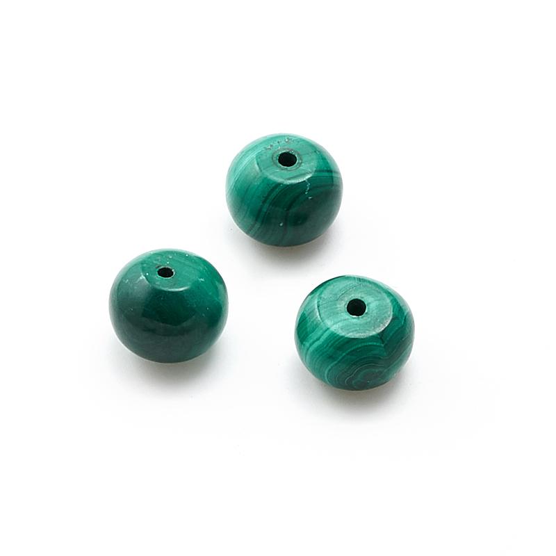Бусина малахит  сплюснутый шар 10-10,5 мм (1 шт) бусина сердолик светлый прозрачный сплюснутый шар 6 5 мм 1 шт