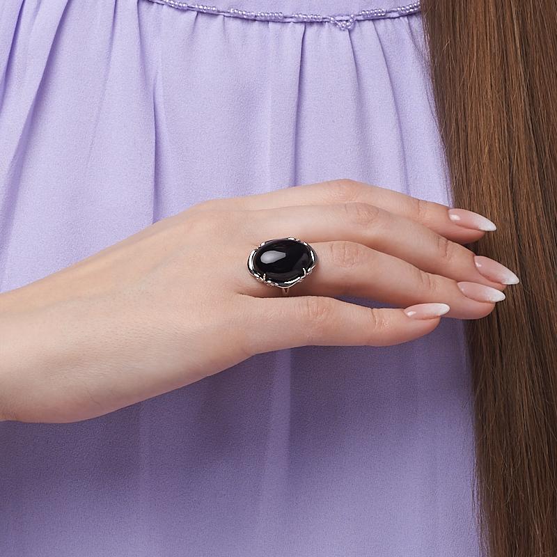 Кольцо агат черный Бразилия (серебро 925 пр.) размер 17