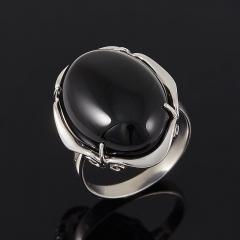 Кольцо агат черный Бразилия (серебро 925 пр.) размер 17,5