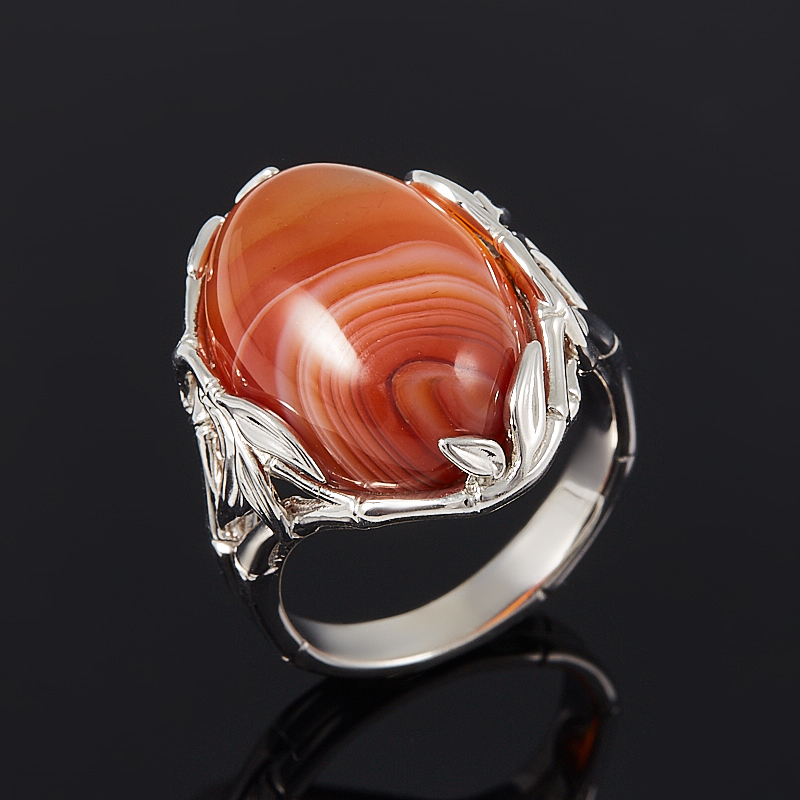 Кольцо агат красный  (серебро 925 пр.) размер 17,5 серьги агат серый серебро 925 пр