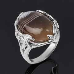 Кольцо агат серый Ботсвана (серебро 925 пр.) размер 17