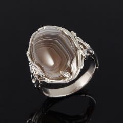 Кольцо агат серый Ботсвана (серебро 925 пр.) размер 17,5