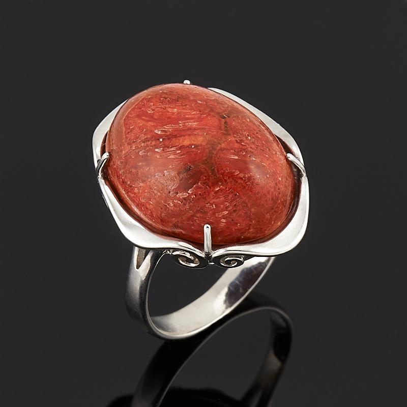 Кольцо коралл красный (серебро 925 пр.) размер 18,5