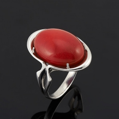 Кольцо коралл красный Индонезия (серебро 925 пр.) размер 17