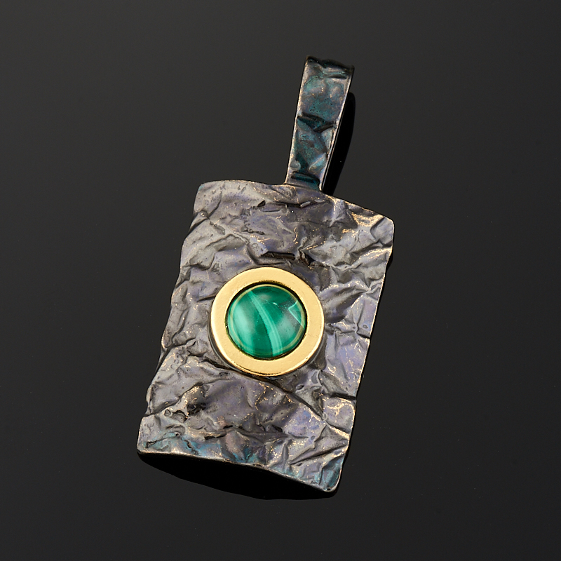 Кулон малахит (серебро 925 пр., позолота)