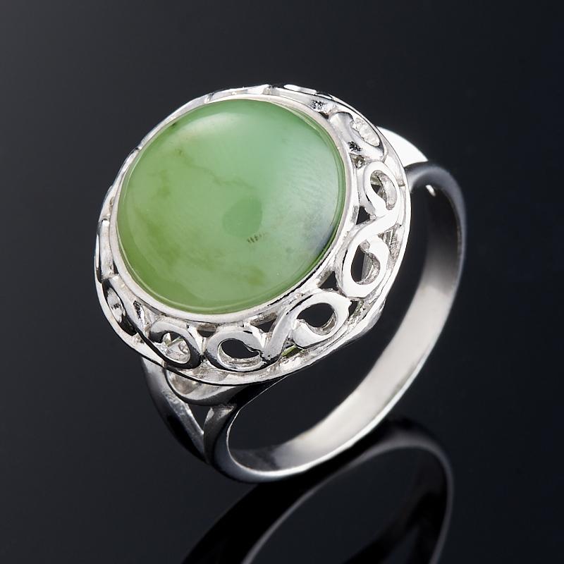 Кольцо нефрит зеленый (серебро 925 пр.) размер 17,5 фото