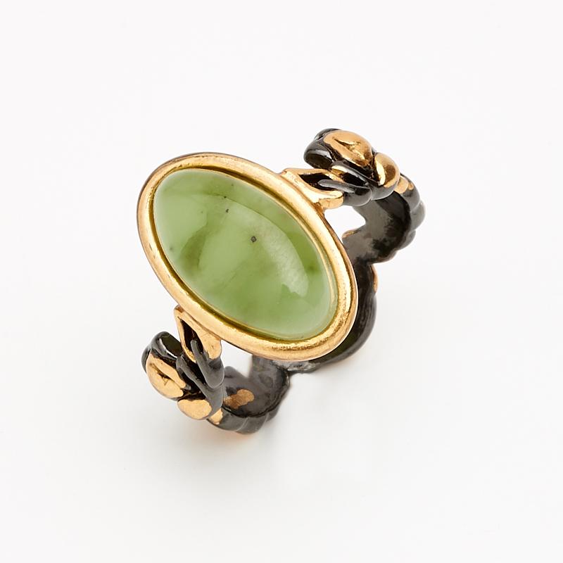 Кольцо нефрит зеленый (серебро 925 пр., позолота) размер 16,5 цены