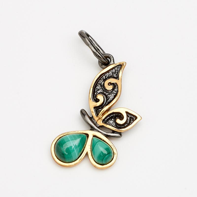 Кулон малахит  бабочка (серебро 925 пр., позолота)