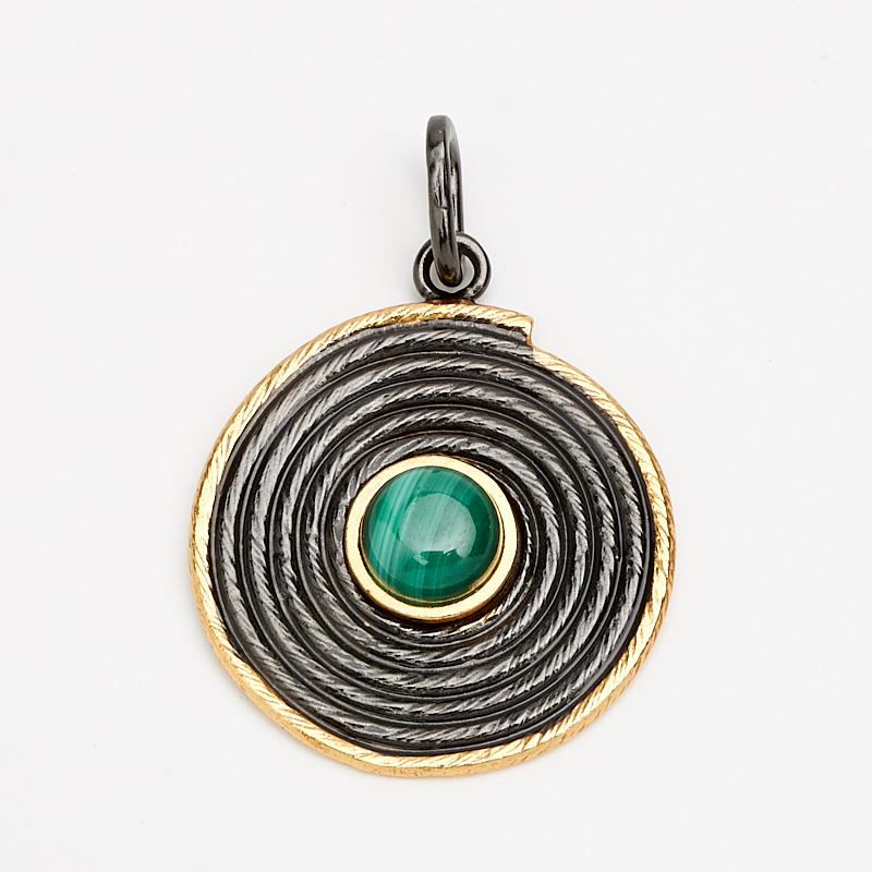 Кулон малахит  круг (серебро 925 пр., позолота)