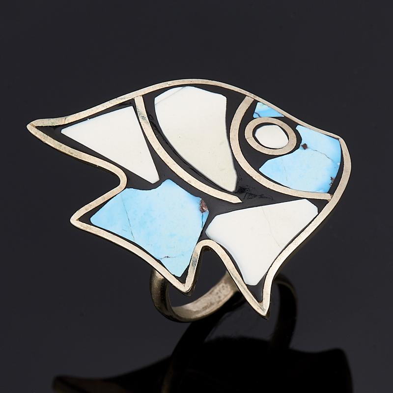 Кольцо кахолонг, бирюза (нейзильбер) размер 19 браслет джессика змеевик кахолонг