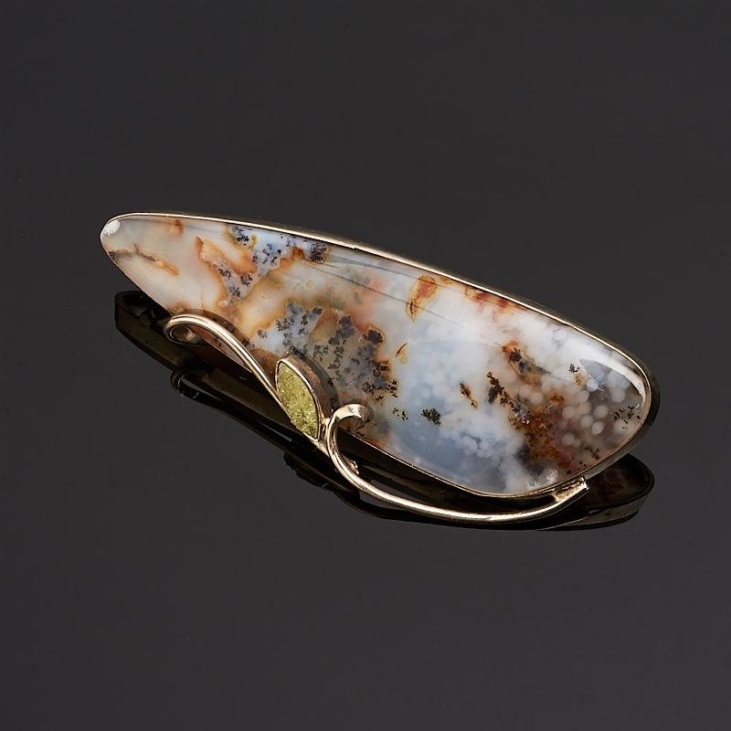 Брошь агат моховой  (нейзильбер)