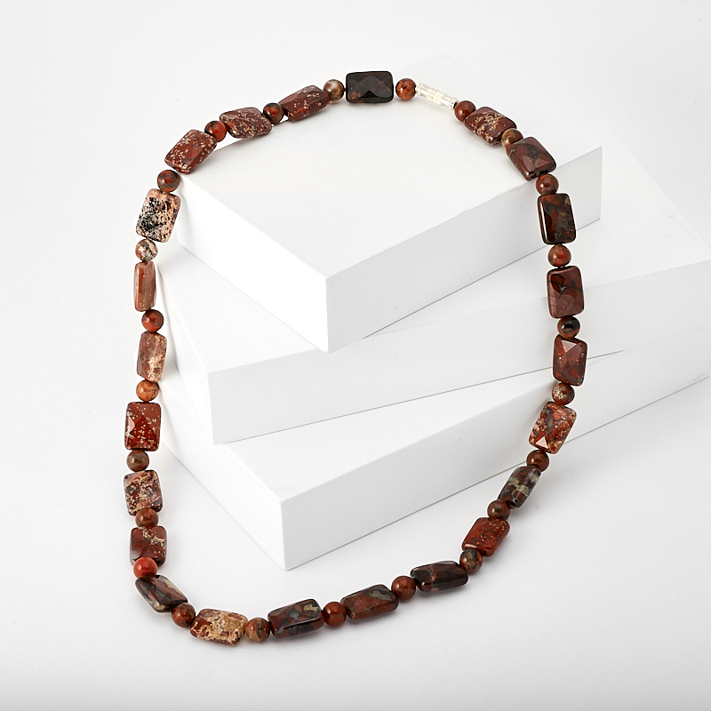 Бусы яшма брекчиевая огранка 48 см (биж. сплав) кольцо на 2 пальца лори биж сплав