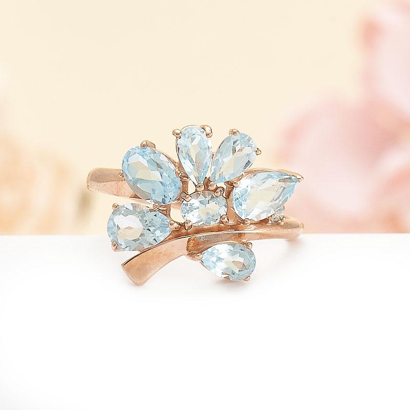 Кольцо топаз голубой огранка (серебро 925 пр., позолота) размер 17,5 кольцо коюз топаз кольцо т305613422