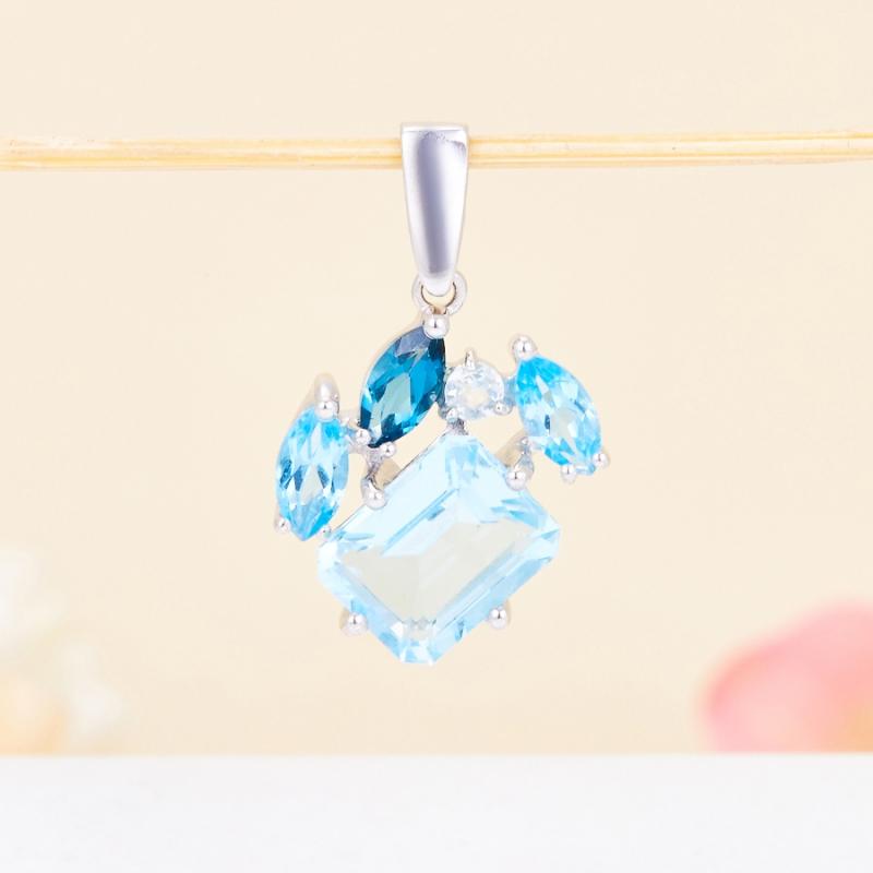Кулон топаз голубой, swiss, лондон огранка (серебро 925 пр.) огранка топаз лондон квадрат 4 4 мм