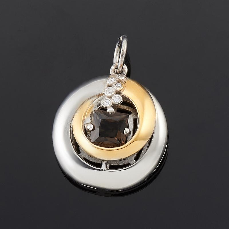 Кулон раухтопаз  круг огранка (серебро 925 пр., позолота)