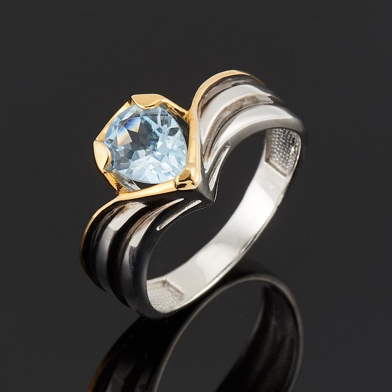 Кольцо топаз голубой огранка (серебро 925 пр., позолота) размер 18,5