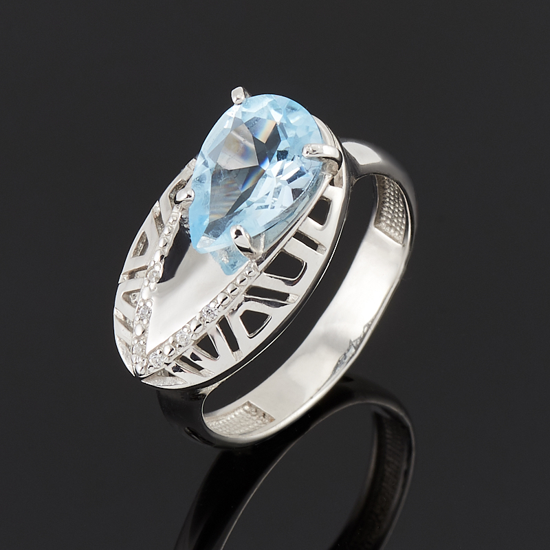 Кольцо топаз голубой огранка (серебро 925 пр.) размер 17,5 кольцо коюз топаз кольцо т305613422