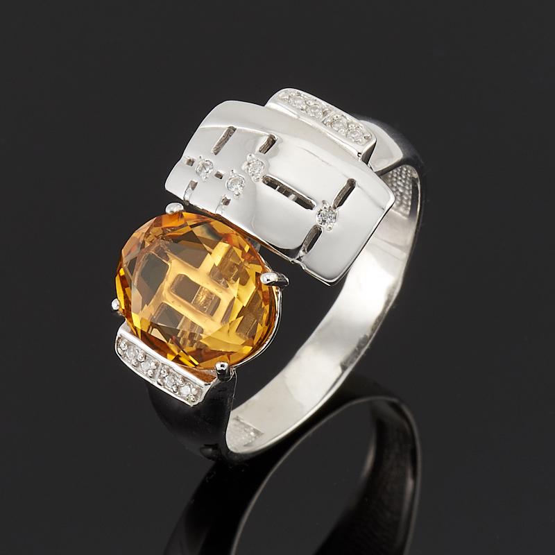 Кольцо цитрин  огранка (серебро 925 пр.) размер 19