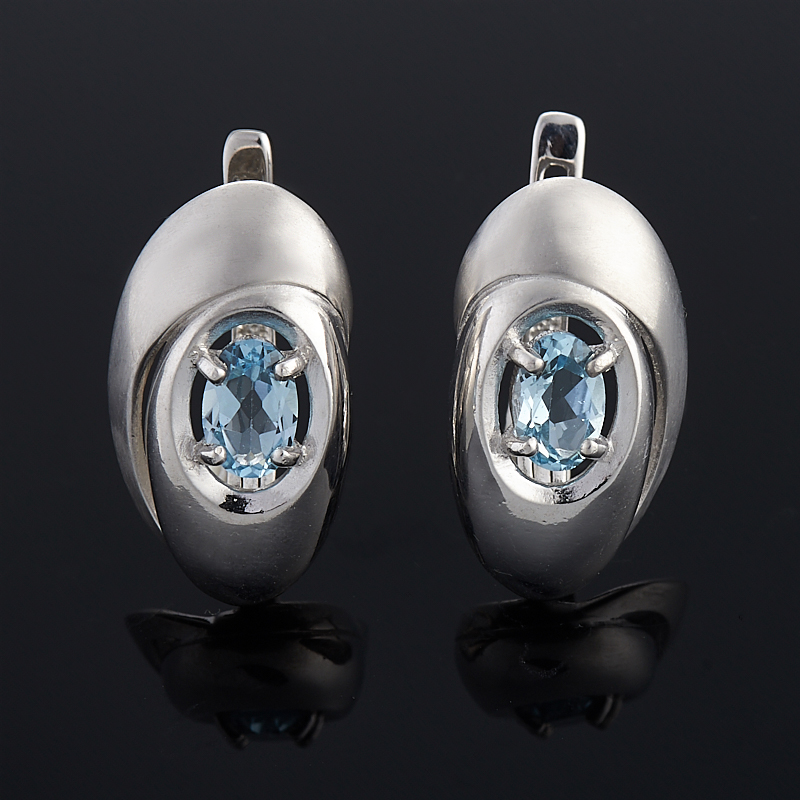 Серьги топаз голубой огранка (серебро 925 пр.)