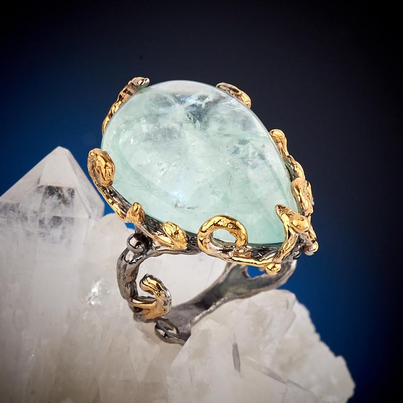 Кольцо аквамарин (серебро 925 пр., позолота) размер 18 кольцо аквамарин серебро 925 пр позолота размер 18