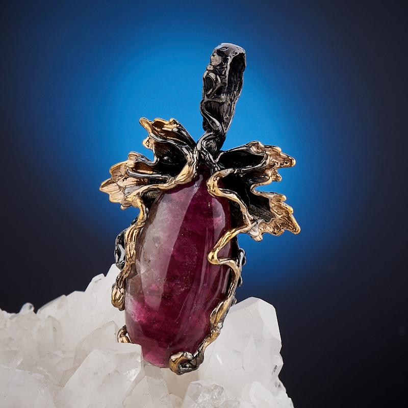 Кулон турмалин розовый (рубеллит)  (серебро 925 пр., позолота)