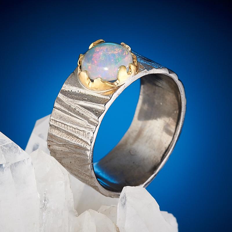 Кольцо опал благородный белый  (серебро 925 пр., позолота) размер 19,5