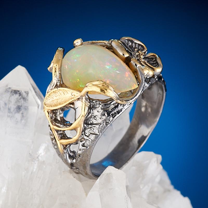 Кольцо опал благородный желтый  (серебро 925 пр., позолота) размер 19,5