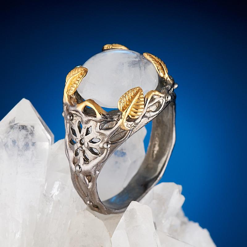 Кольцо лунный камень  (серебро 925 пр., позолота) размер 18,5