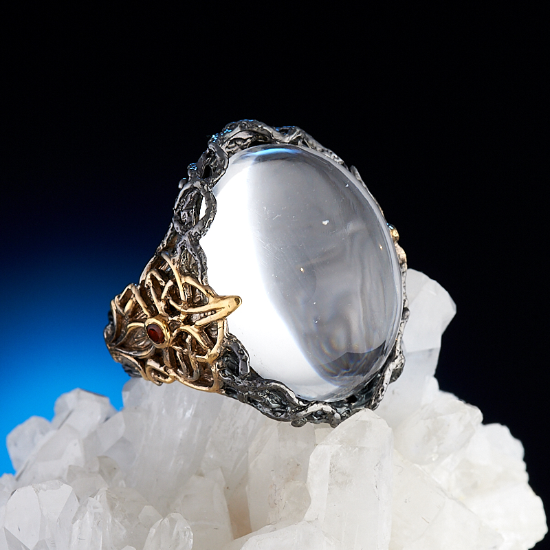 Кольцо горный хрусталь  (серебро 925 пр., позолота) размер 19