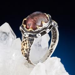 Кольцо турмалин розовый (рубеллит) Россия (серебро 925 пр., позолота) размер 18