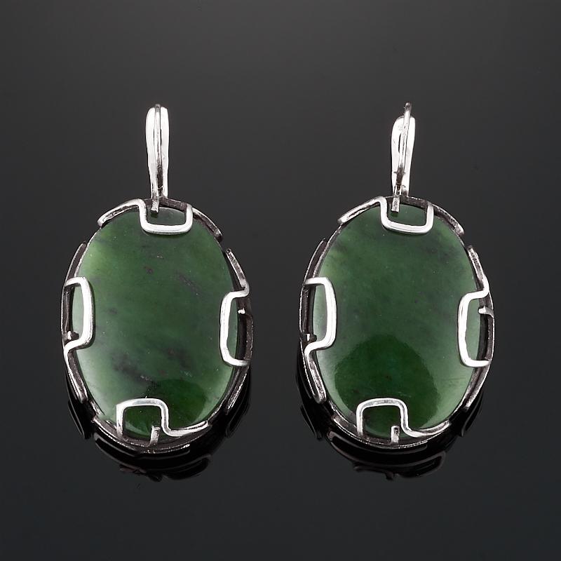 Серьги нефрит зеленый (серебро 925 пр.) браслет нефрит зеленый 18 см серебро 925 пр